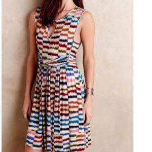 Anthropologie Maeve | rainbow striped A-line dress